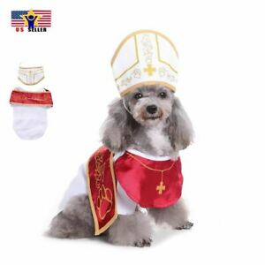 Cute Funny Pope Dog Puppy Cat Costume Halloween Clothes Dress Up Hat Cosplay US