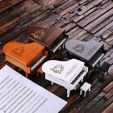 More details for personalised baby piano musical jewelry box in cherry wood, black or white