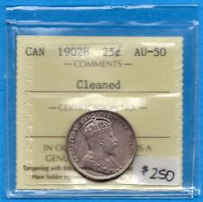 Canada 1902 H 25 Cents Twenty Five Cent Silver Coin - ICCS AU-50 (cleaned)