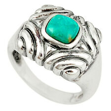 cyber monday sale silver natural green turquoise tibetan ring size 7.5 c10612