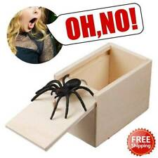Wooden Prank Spider Scare Box Hidden in Case Trick Play Joke Scarebox Gag Toy *1