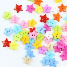 Mixed Colors Flat Back Pentagram Star Plastic Buttons Sewing DIY Craft 100PCS