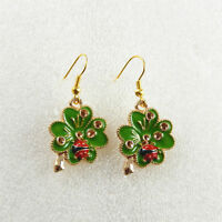 1Pair Rhinestone Earrings KC Gold Alloy Green Plated Enamel Hook Ladybug Clover