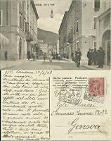 219.Italia.Massa.1908.Viaggiata Carrara-Genova.Carrara,Via G.Verdi.Animatissima