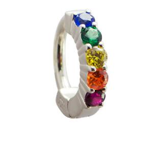 TummyToys Silver Navel Ring, Pave Set with Vibrant Rainbow Effect CZs [TT-64025]