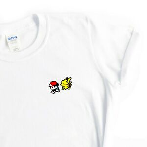 Mens Ash and Pikachu Old School Gaming TShirt Gift Idea for Him White Cotton Tee