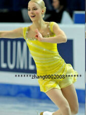 Ice figure skating competition dress.Yellow Ballet Gymnastics dance costume