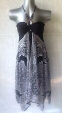 Ellus Dress, Halter with Beads, Handkerchief Hem, Black, White & Grey, Size 6-8