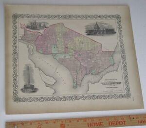 Original 1855 Colton's  Map of Georgetown & Washington DC Taken from Atlas