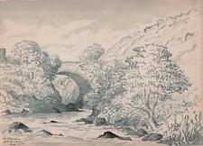 Paisaje Clifden Connemara GALWAY IRELAND Victoriano Acuarela Pintura 1903