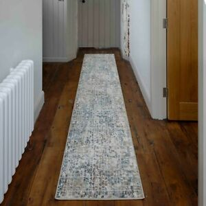 Queen Blue Rugs Distressed Look Hall Runner Mat Large Detailed Super Soft Rugs