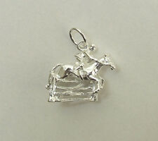 HORSE SHOW JUMPING EVENTING RIDING 3D CHARM 925 STERLING SILVER