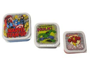 Marvel Team Up Hulk & Iron Man Lunch Box Set Of 3 Kids Snack Pot Brand New Gift