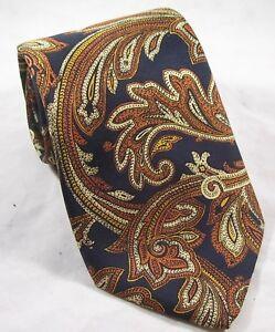 Fendi Cravatte Neck Tie Necktie Pure Silk Italy Navy Blue Brown Rust Scrolls