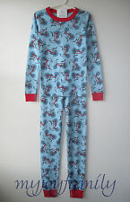 HANNA ANDERSSON Organic Long Johns Pajamas Blue Wheels Bicycle Bike 140 10 NWT