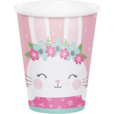 8 X Tazas De Papel De Fiesta Bunny Conejo Rosa Bebé Niña 1st Fiesta  Cumpleaños Baby Shower 0b11483130d