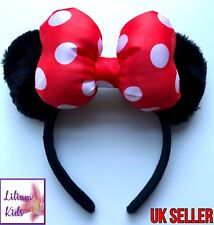 Minnie Mouse Ears Headband with big Red/White Polka Bow - Premium Quality Fluffy
