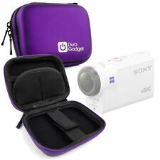 Purple EVA Case w/ Carabiner Clip & Twin Zips for Sony FDR-X3000R Action Camera
