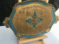 Ornate wood tray carved & painted gold red & blue colours lot BRE070919F