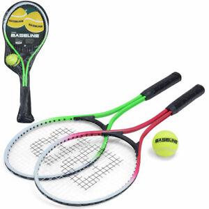 Aluminium 2 Player Tennis Rackets Set Racquets + Ball & Carry Case Garden Games