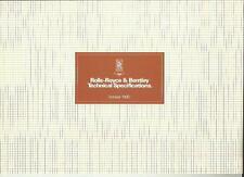ROLLS ROYCE AND BENTLEY MODEL SPECIFICATIONS CAR BROCHURE OCTOBER 1980 FOR 1981