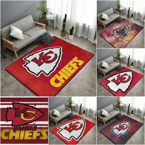 Kansas City Chiefs Fluffy Carpet Living Room Anti-Skid Rug Bedroom Floor Mat