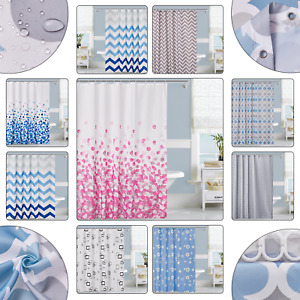 Luxury Printed Shower Curtain Mould & Mildew Resistant 12 Hook Extra Long Wide