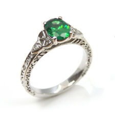 Trinity Knot Ring Oval Emerald 4 Claw Sterling Silver