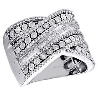 10k Or Blanc Pave 1//8ct Diamant Anniversaire De Mariage Bande