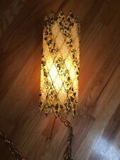 1960s Hanging Swag Lamp  Lucite Rock Chunk Resin Mid Century