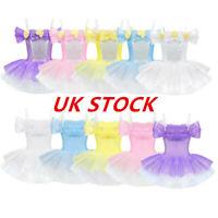 UK Girls Ballet Dance Flower Tutu Dress Kids Gymnastics Performing Show Costumes