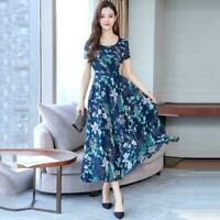 Dress Short Sleeve O-neck Slim  Women Floral Print Plus Size L-3XL Long Dresses