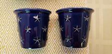 Longaberger Proudly America Votive set of 2 Blue w/ Stars 2002 Nwt