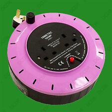 Violet 2 Gang 10m Extension Lead Reel 10 Amp 2 Way Socket Safety Thermal Cut Off
