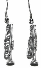 PEWTER TRUMPET DANGLE EARRINGS (D065)