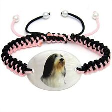Bearded Collie Natural Mother Of Pearl Adjustable Knot Bracelet Chain BS255