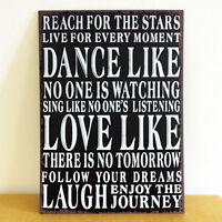 Vintage DANCE LIKE NO ONE IS WATCHING Positive Quote Metal Wall Plaque Sign