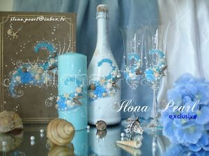Personalized Beach Wedding Toast Wine Glass Bling Crystal Teal Sparkle Mr Mrs