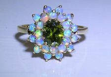 A FINE 9CT YELLOW GOLD CABOCHON OPAL PERIDOT  CLUSTER  STATEMENT RING
