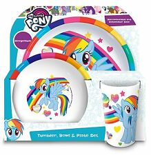 My Little Pony Dinner Table Set Rainbow Dash Plate Bowl And Cup