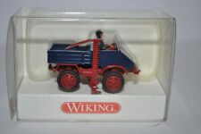 Wiking 0870 03 - Unimog 411 w/Side Cutting Blade (Blue/Red) Marklin NEW w/BOX