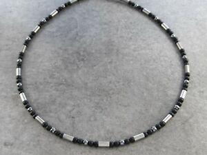Titan Titanium Halskette Silber Herren Surfer Biker Onyx schwarz matt coole echt