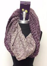 New Women's Winter Infinity 1-Circle Knit Cowl Neck Loop Scarf Wrap Purple/Cream