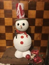 Vintage Mica Snowman Jingle Bell Red Top Hat Candy Container Western Germany 9.5