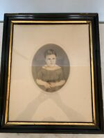 Beautiful Antique hand painted ink watercolor portrait little girl framed Matted