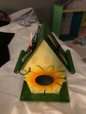 Colorful Decorative All Metal Bird House Green Roof