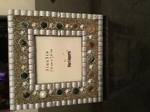 Table Photo Frame Hand made With natural stones size 3x3 ln