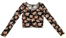 RUE21 Women's T-Shirt Blouse Long Sleeve Top Floral Black Large FREE-SHIP A322