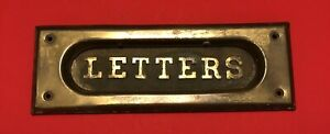 Vintage Antique Brass Mail Drop door Slot Patina raised Letters