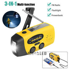 Emergency Solar Hand Crank AM/FM/WB Weather Radio LED Flashlight Charger Yellow